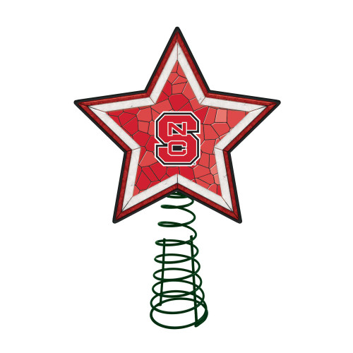 """10"""" Lighted Red and White Star NCAA NC State Wolfpack Christmas Tree Topper - IMAGE 1"""