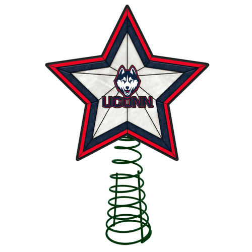 """10"""" Lighted Red and Blue Star NCAA UConn Huskies Christmas Tree Topper - IMAGE 1"""