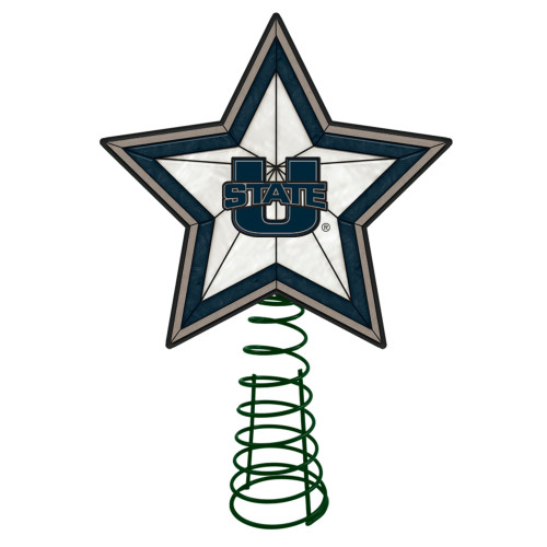 """10"""" Lighted Blue and Gray Star NCAA Utah State Aggies Christmas Tree Topper - IMAGE 1"""