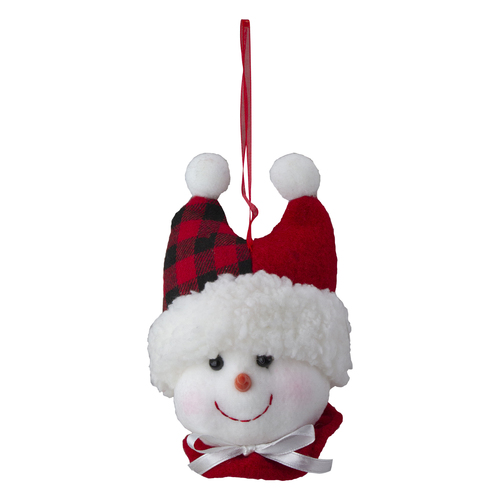 """4.5"""" Snowman In a Red and Black Flannel Hat With a White Bow Christmas Ornament - IMAGE 1"""