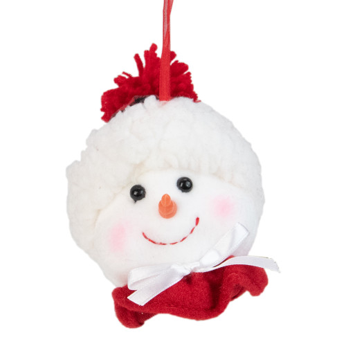 """4.5"""" Snowman In a White and Red Flannel Hat With a Collar and Bow Christmas Ornament - IMAGE 1"""