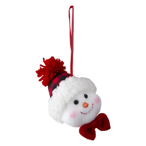 "4.5"" Snowman Wearing a Red and Black Flannel Hat With a Red Bow Christmas Ornament - IMAGE 1"