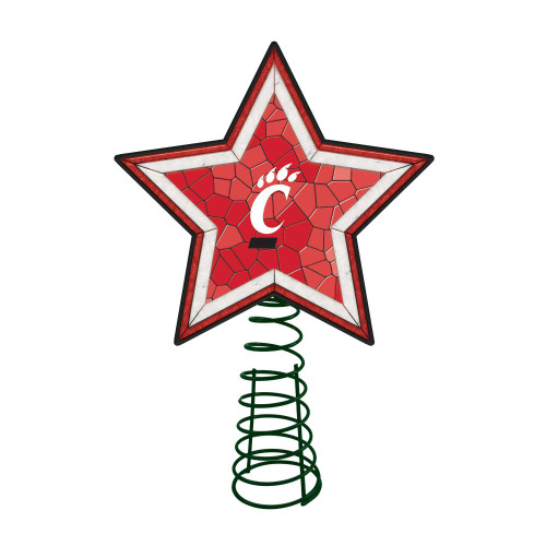 """10"""" Lighted Red and White Star NCAA Cincinnati Bearcats Mosaic Christmas Tree Topper - IMAGE 1"""