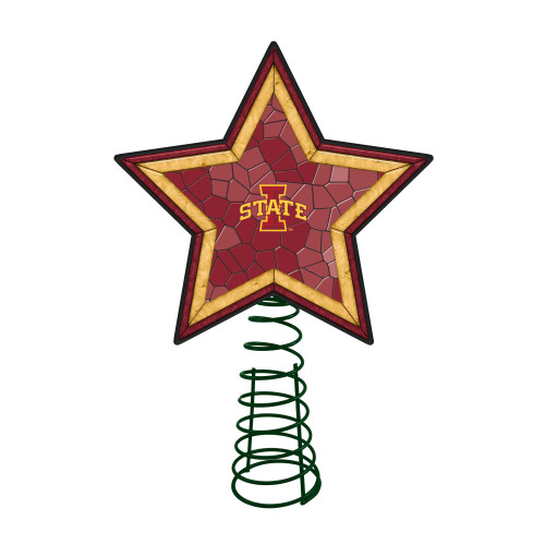 """10"""" Lighted Red and Yellow Star NCAA Iowa State Cyclones Christmas Tree Topper - IMAGE 1"""