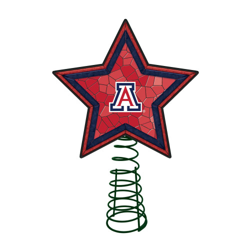 """10"""" Lighted Red and Blue Star NCAA Arizona Wildcats Christmas Tree Topper - IMAGE 1"""