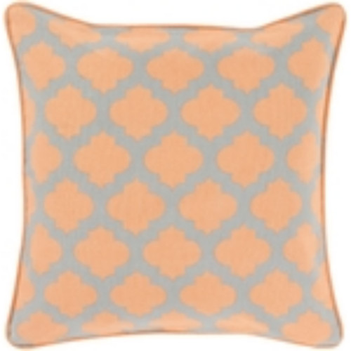 "18"" Orange and Gray Moroccan Square Throw Pillow Cover - IMAGE 1"