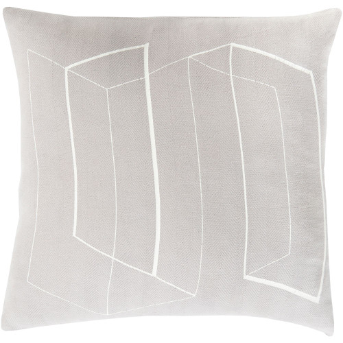 """22"""" Silver Gray and White Contemporary Square Throw Pillow Cover - IMAGE 1"""