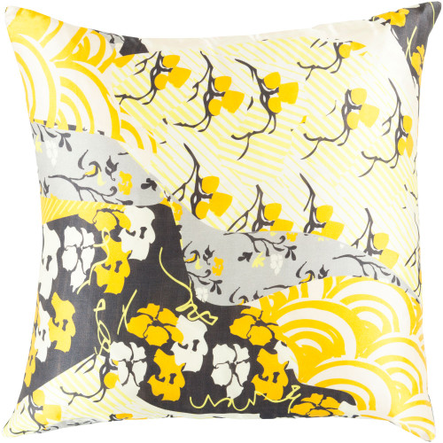 """22"""" Yellow and Gray Contemporary Square Throw Pillow Cover - IMAGE 1"""