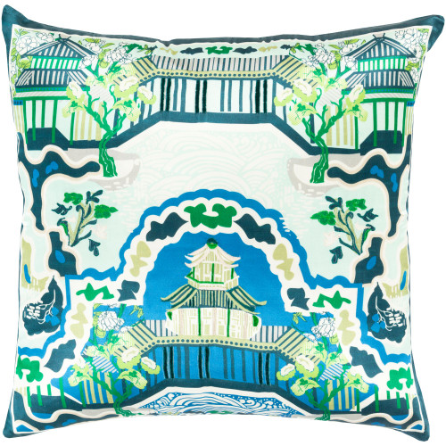 """20"""" Teal Blue and Beige Transitional Square Throw Pillow Cover - IMAGE 1"""