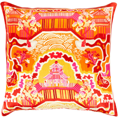 """22"""" Burnt Orange and Red Transitional Square Throw Pillow Cover - IMAGE 1"""