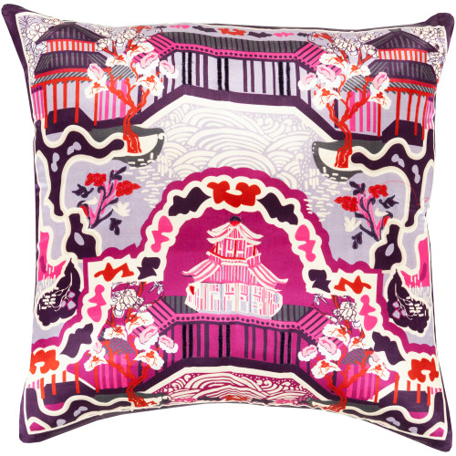 "22"" Purple and Red Oriental Square Throw Pillow Cover - IMAGE 1"