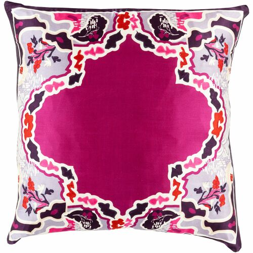 """20"""" Purple and Ivory Transitional Square Throw Pillow Cover - IMAGE 1"""