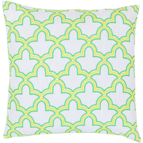 "22"" Yellow and Green Moroccan Trellis Square Throw Pillow Cover - IMAGE 1"