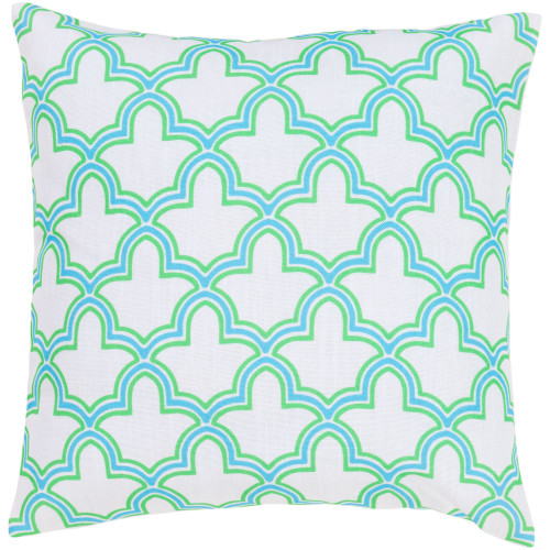 """22"""" Green and Blue Moroccan Trellis Square Throw Pillow Cover - IMAGE 1"""
