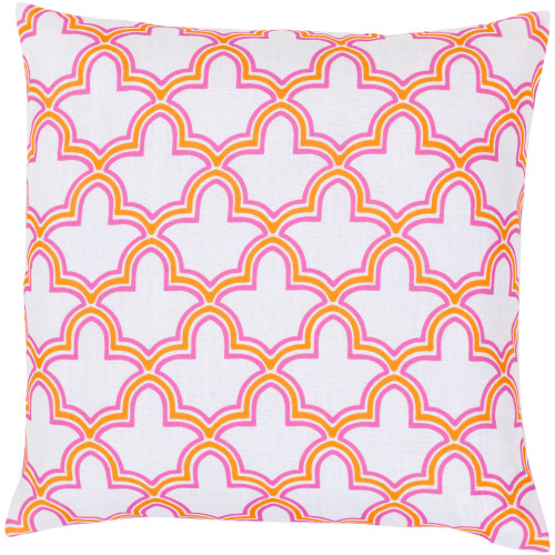 "22"" Pink and Yellow Moroccan Trellis Square Throw Pillow Cover - IMAGE 1"