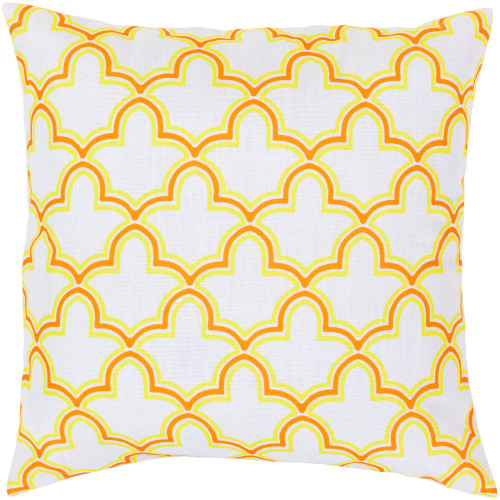 "18"" Orange and Yellow Moroccan Trellis Square Throw Pillow Cover - IMAGE 1"