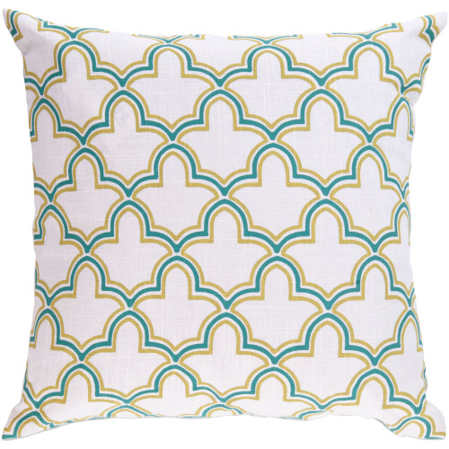 "22"" Green and Ivory Moroccan Trellis Square Throw Pillow Cover - IMAGE 1"