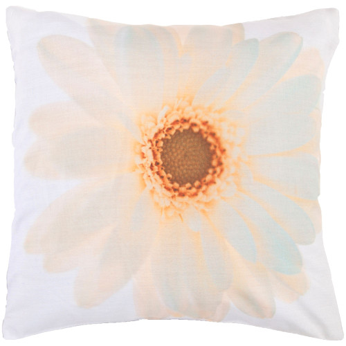 """22"""" White and Yellow Floral Square Throw Pillow Cover - IMAGE 1"""