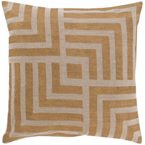 """22"""" Gold and Brown Geometric Square Throw Pillow Cover - IMAGE 1"""