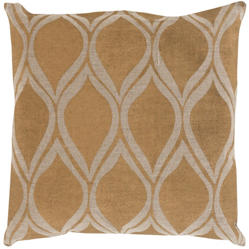 """22"""" Brown and Gold Transitional Square Throw Pillow Cover - IMAGE 1"""
