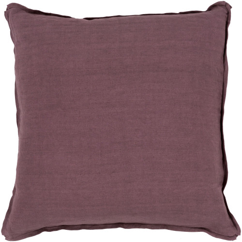 "22"" Purple Solid Square Throw Pillow Cover with Knife Edge - IMAGE 1"