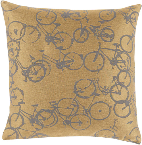 """22"""" Yellow and Charcoal Brown Bicycle Printed Square Throw Pillow Cover - IMAGE 1"""