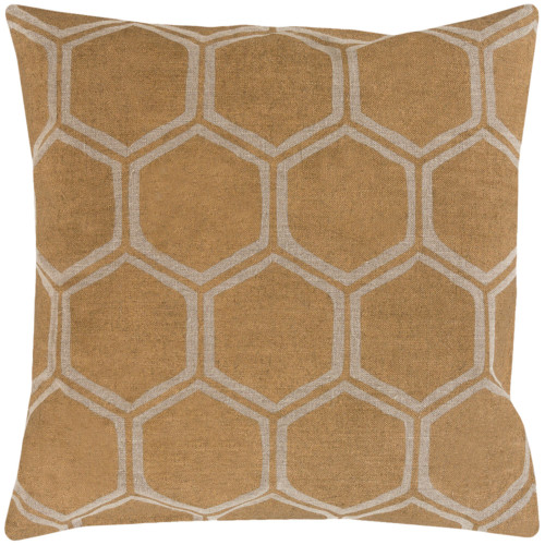 """22"""" Brown and Pale Gold Geometric Square Throw Pillow Cover - IMAGE 1"""