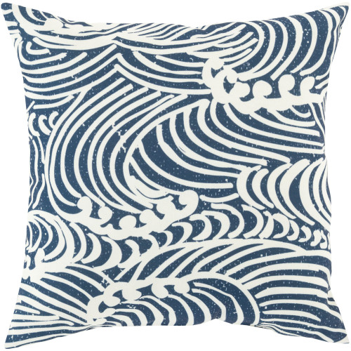 """18"""" Blue and White Wave Digitally Printed Square Throw Pillow Cover - IMAGE 1"""