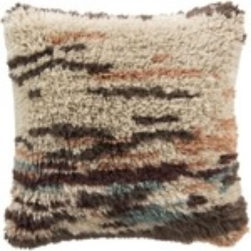 "22"" Brown and Beige Shag Square Throw Pillow Cover - IMAGE 1"