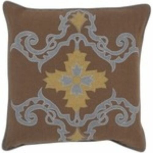 """18"""" Brown and Steel Gray Contemporary Square Throw Pillow Cover - IMAGE 1"""