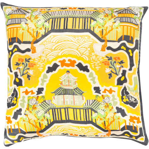 """22"""" Yellow and Lime Green Contemporary Square Throw Pillow Cover - IMAGE 1"""