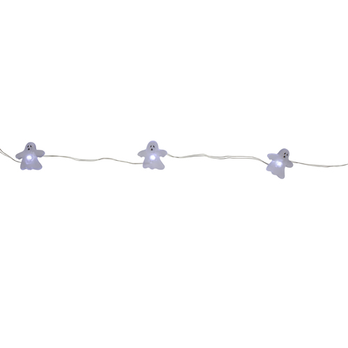 20 Battery Operated Clear Ghost Fairy Halloween Lights - 8 ft Clear Wire - IMAGE 1