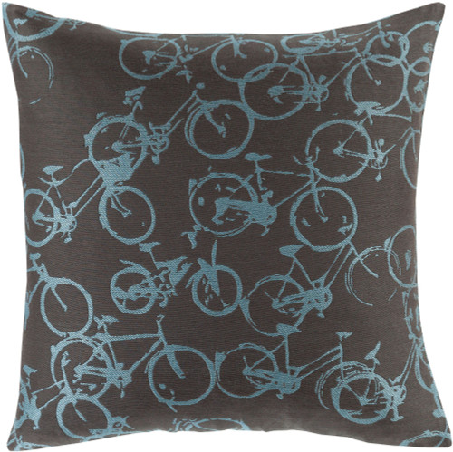 "22"" Sky Blue and Black Bicycle Printed Square Throw Pillow Cover - IMAGE 1"