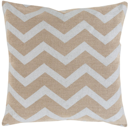 """22"""" Gray and Brown Chevron Square Throw Pillow Cover - IMAGE 1"""