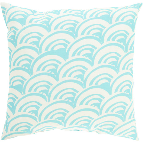 """18"""" Blue and White Scales Digitally Printed Square Throw Pillow Cover - IMAGE 1"""