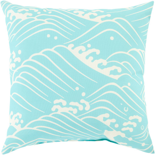 """18"""" Aqua Blue and White Waves Printed Square Throw Pillow Cover - IMAGE 1"""