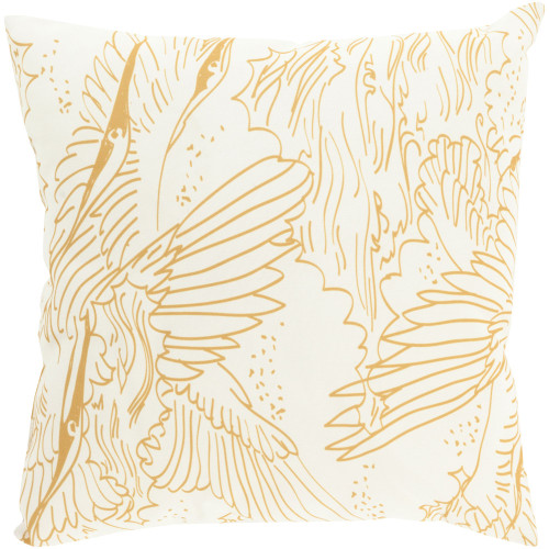 """20"""" Yellow and White Contemporary Digitally Printed Square Throw Pillow Cover - IMAGE 1"""