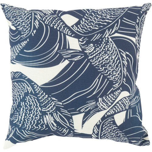 """18"""" Navy Blue and White Fish Printed Square Throw Pillow Cover - IMAGE 1"""