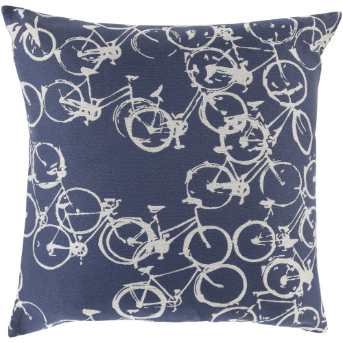 "20"" Navy Blue and Ivory Contemporary Square Throw Pillow Cover - IMAGE 1"