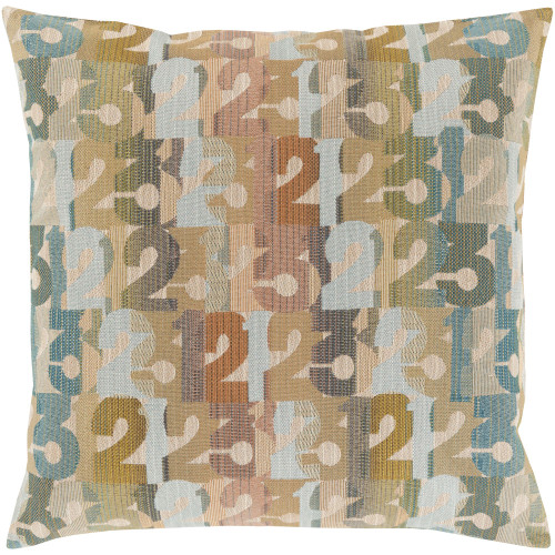 """20"""" Blue and Brown Numbers Printed Square Throw Pillow Cover - IMAGE 1"""