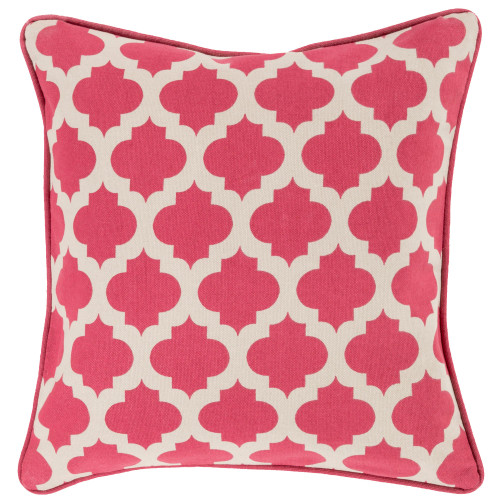 """20"""" Pink and Beige Moroccan Square Throw Pillow Cover - IMAGE 1"""
