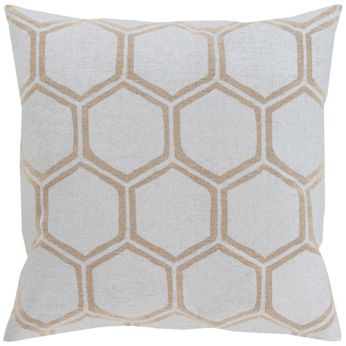 "22"" Silver Gray and Brown Geometric Square Throw Pillow Cover - IMAGE 1"