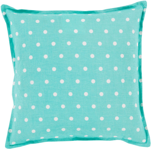 """22"""" Mint Blue and Cream White Polka Dot Square Throw Pillow Cover - IMAGE 1"""