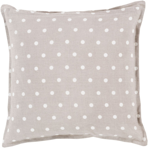 """22"""" Taupe Gray and Cream White Polka Dot Square Throw Pillow Cover - IMAGE 1"""