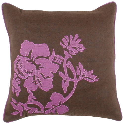 """18"""" Brown and Pink Floral Square Throw Pillow Cover - IMAGE 1"""