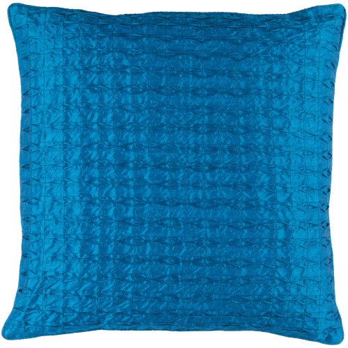 "22"" Blue Contemporary Square Throw Pillow Cover - IMAGE 1"