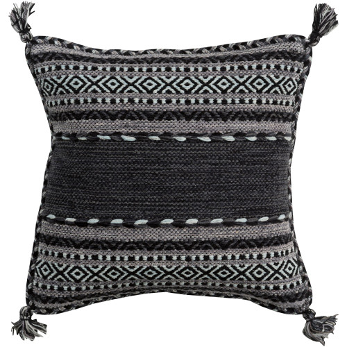 """22"""" Black and Gray Striped Square Throw Pillow Cover - IMAGE 1"""