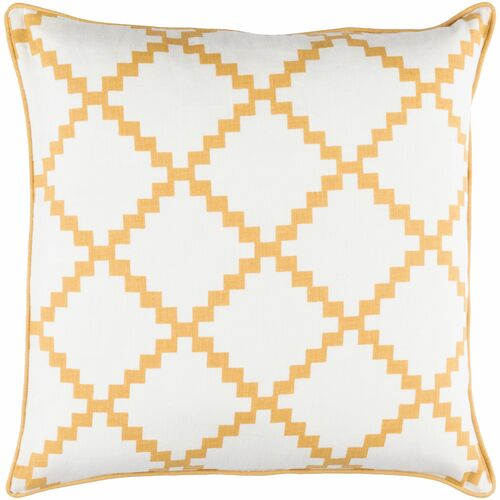 "20"" White and Mustard Yellow Geometric Square Throw Pillow Cover - IMAGE 1"