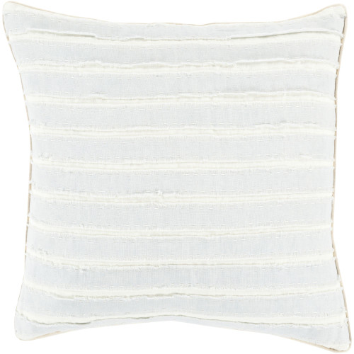 "20"" Pale Blue and White Striped Square Throw Pillow Cover - IMAGE 1"
