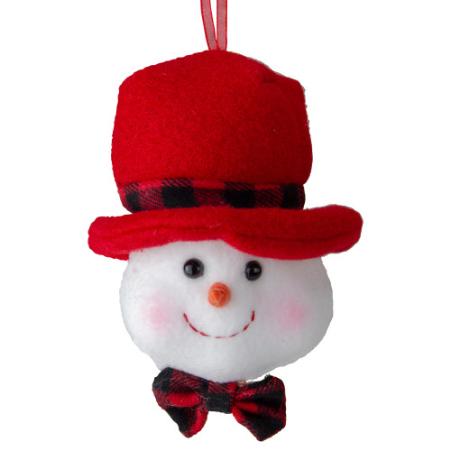 """7"""" White Snowman with Top Hat and Bow Tie Christmas Ornament - IMAGE 1"""